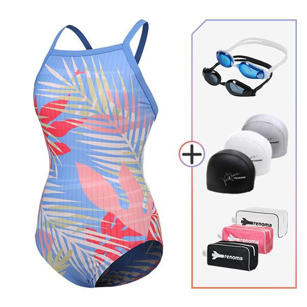 여성 실내수영복 수경수모가방 4종세트_LF19011SET5