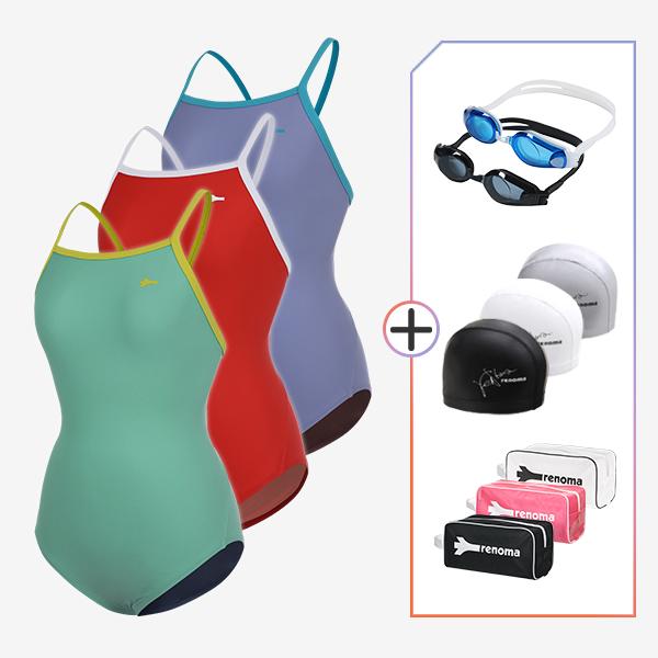 여성 실내수영복 및 수경수모가방 4종세트_LS20003SET5