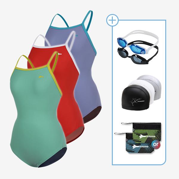 여성 실내수영복 및 수경수모지퍼백 4종세트_LS20003SET