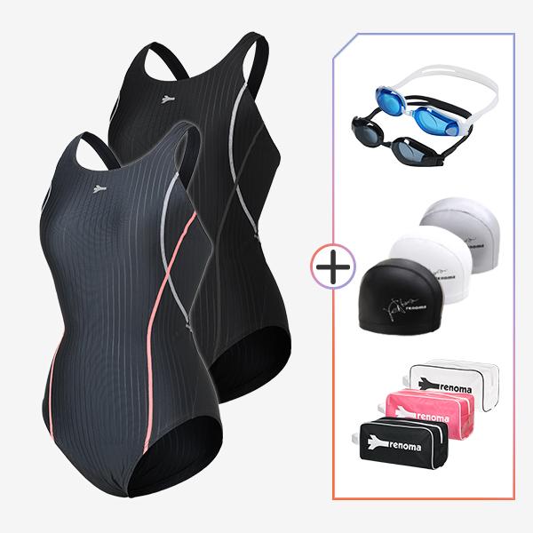 여성 실내수영복수영복 수경수모가방 4종세트_LS20802SET5