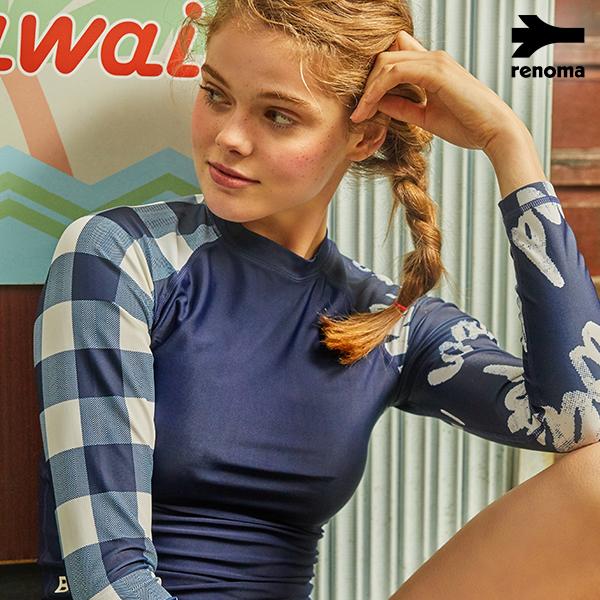 [TRENDY] 여성 비치 체크 레터링 래쉬가드_RN-TS18370WC