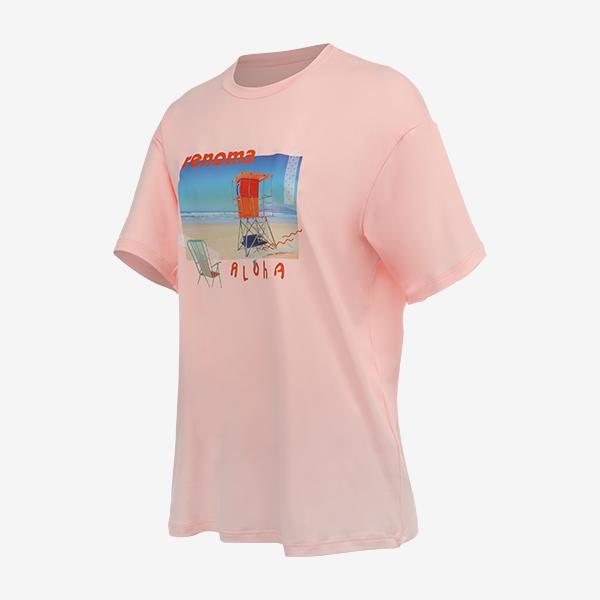 여성 썬비치 오버핏 숏슬리브 티셔츠_RN-TS20305AC